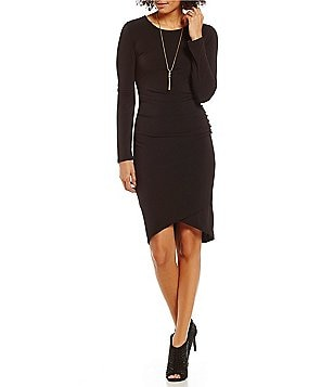 Gibson & Latimer Long Sleeve Shirred Sheath Dress