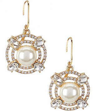 Gemma Layne Orbital Faux-Pearl Drop Earrings