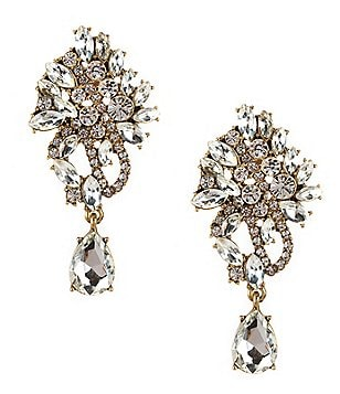 Belle Badgley Mischka Rhinestone Cluster Chandelier Earrings