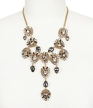 Belle Badgley Mischka Abstract Teardrop Rhinestone Statement Necklace