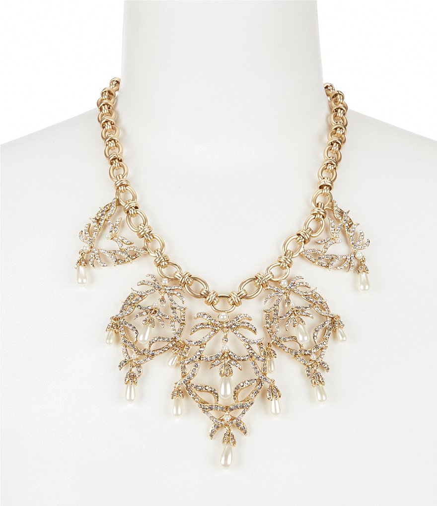 Belle Badgley Mischka Vintage Pavé & Faux-Pearl Openwork Collar Necklace