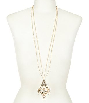 Belle Badgley Mischka Pavé Pearl Drop Pendant Necklace