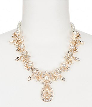 Gemma Layne Crystal & Pearl Collar Necklace