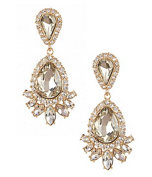 Gemma Layne Pavé Double Teardrop Statement Earrings