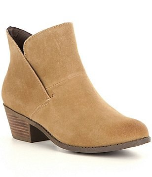 Me Too Zale Tulip Shaped Suede Slip-On Block Heel Booties