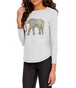 Westbound Long Sleeve Crew Neck Elephant-Graphic Top