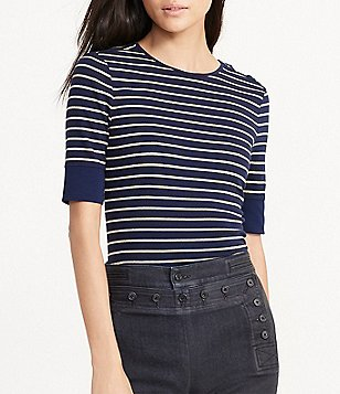 Lauren Ralph Lauren Petite Striped Lace-Up-Shoulder Top