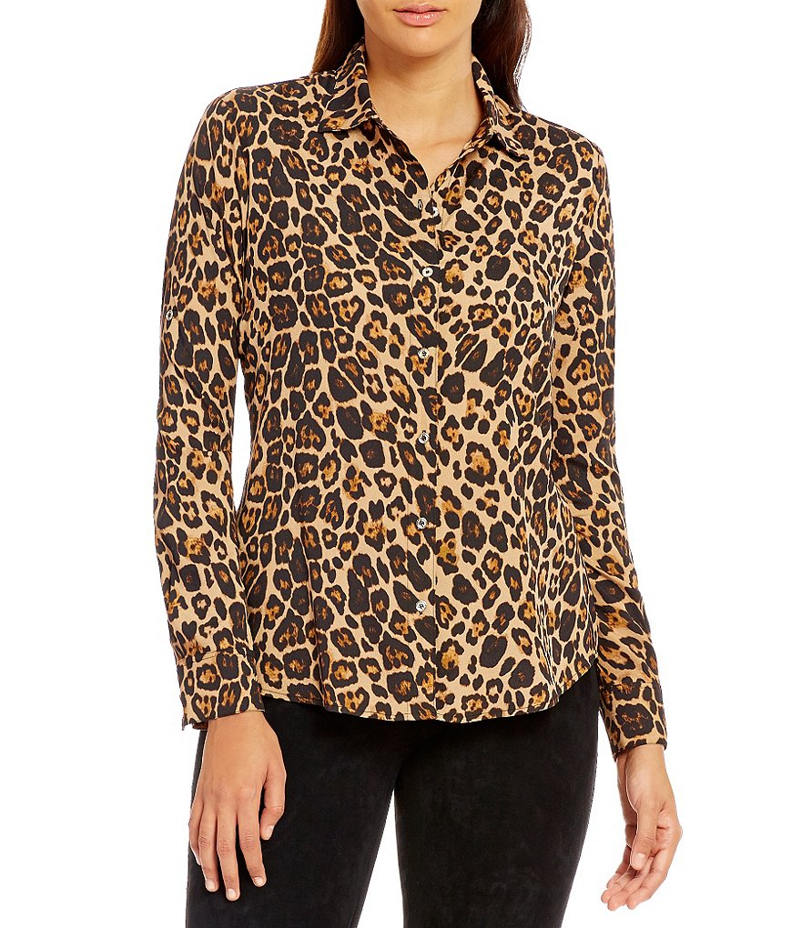KARL LAGERFELD PARIS Leopard Print Long Roll-Tab Sleeve Blouse