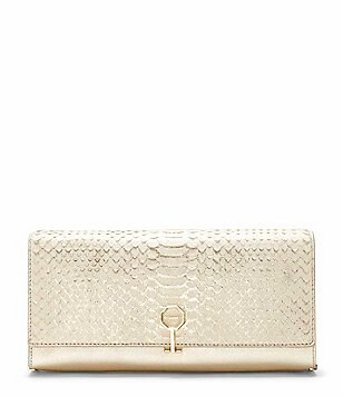 Louise et Cie Yvet Metallic Snake-Embossed Clutch