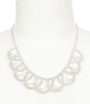 Cezanne Pearl Rhinestone Drape Collar Necklace