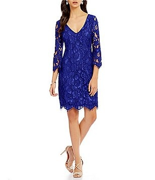 Belle Badgley Mischka Katia V-Neck Bell Sleeve Lace Dress
