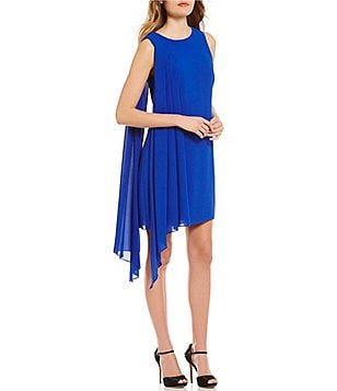 Belle Badgley Mischka Kora Sleeveless Pleated Georgette Sheath Dress