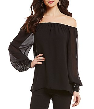 Belle Badgley Mischka Katrina Off-the-Shoulder Top