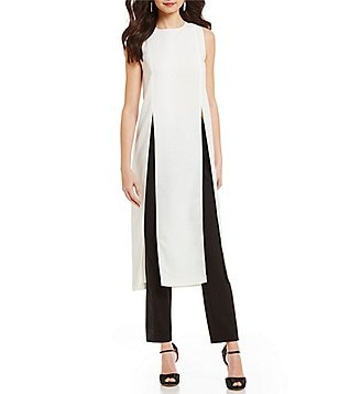 Belle Badgley Mischka Kyra Sleeveless Front Slit Tunic
