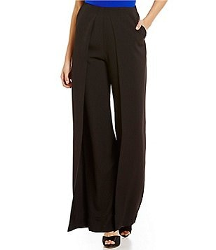Belle Badgley Mischka Janey Crepe Wide-Leg Front Pleat Pant