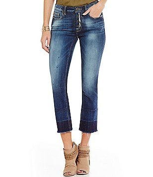 Vigoss Jagger Distressed Cropped Released Hem Straight-Leg Jeans