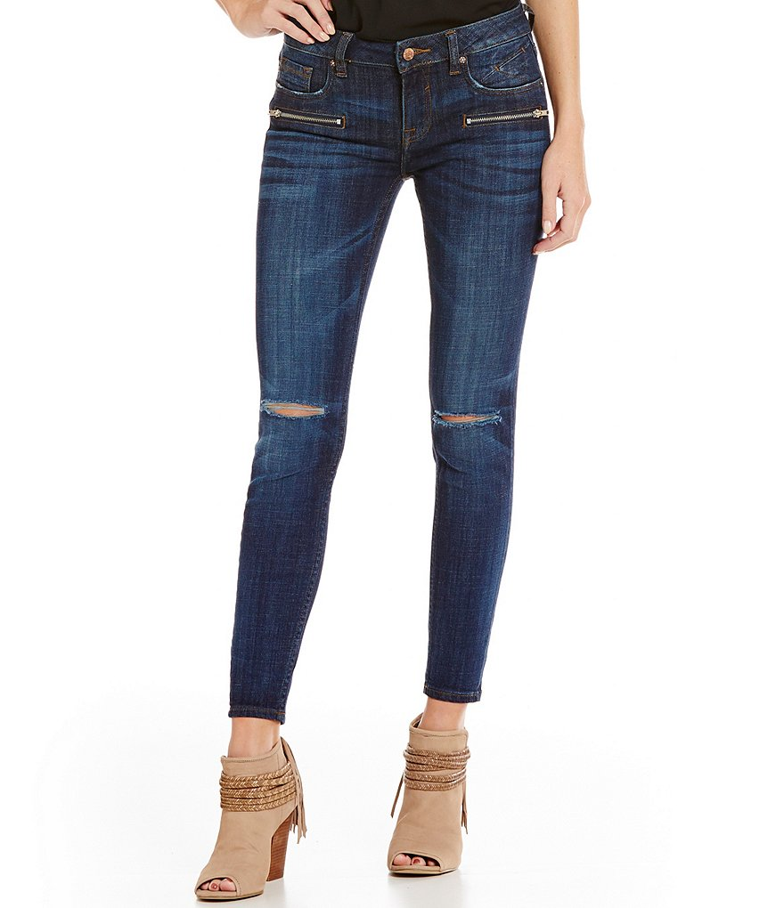 Vigoss Jagger Zipper Distressed Skinny Jeans