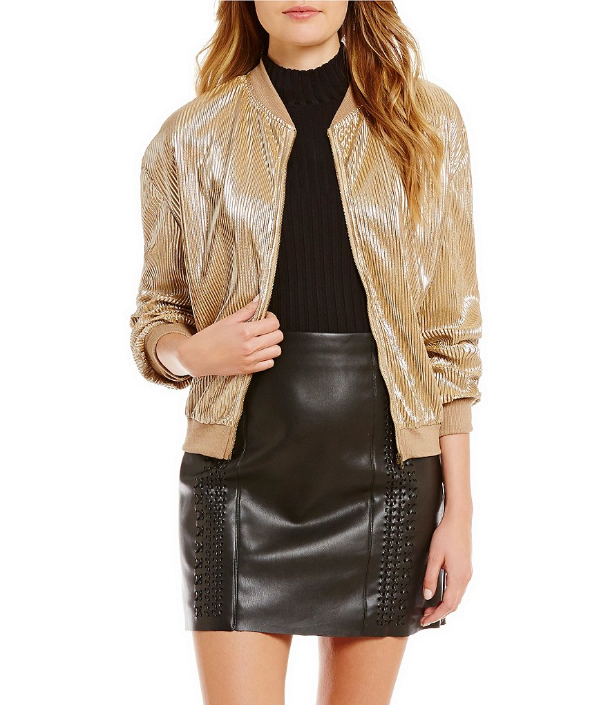 Gianni Bini Juli Ribbed Collar & Cuff Pleated Metallic Bomber Jacket