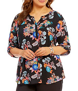 Gibson & Latimer Plus 3/4 Sleeve Floral Blouse