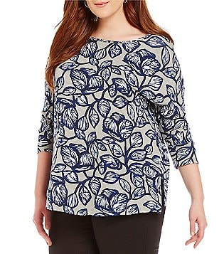 Gibson & Latimer Plus Round Neck 3/4 Sleeve Leaf Printed Knit Top