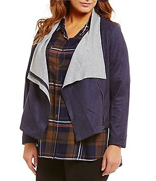 Gibson & Latimer Plus Faux-Suede Zip Front Jacket