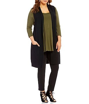 Gibson & Latimer Plus Sleeveless Knit Open Front Cardigan