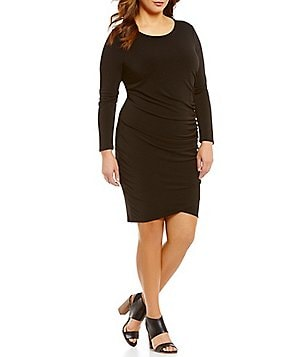 Gibson & Latimer Plus Long Sleeved Side Shirred Dress