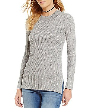 So It Is Mock Neck Rib Knit Marled Side Slit Top