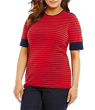 Lauren Ralph Lauren Plus Striped Lace-Up-Shoulder Top