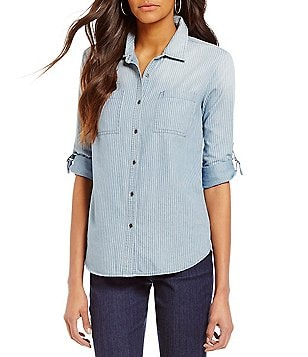 Intro Y-Neck Roll-Tab Sleeve Button Front Denim Top
