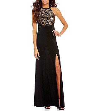 Blondie Nites High Neck Metallic Lace Bodice Long Dress
