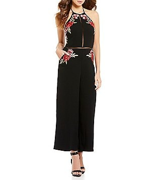 Gianni Bini Rosa Halter Neck Sleeveless Floral Applique Jumpsuit