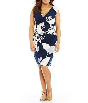 Lauren Ralph Lauren Plus Cap Sleeve Floral Print Matte Jersey Sheath Dress