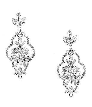 Cezanne Clover Rhinestone Statement Chandelier Earrings