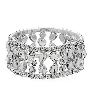 Cezanne Open-Row Rhinestone Stretch Bracelet