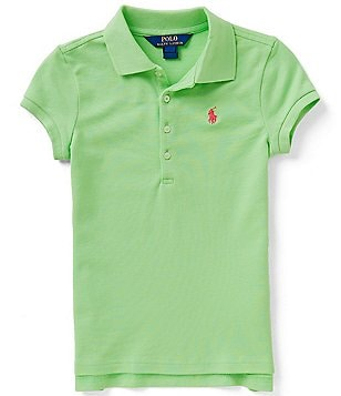 Ralph Lauren Childrenswear Big Girls 7-16 Solid Short-Sleeve Mesh Polo Shirt