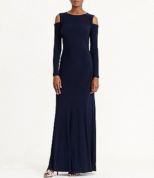 Lauren Ralph Lauren Cold-Shoulder Long Sleeve Slim Jersey Gown