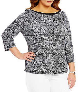 Westbound Plus 3/4 Sleeve Boat Neck Top
