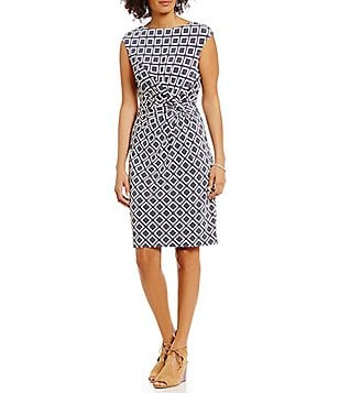 Lauren Ralph Lauren Bateau Neck Cap Sleeve Twist-Front Sheath Dress