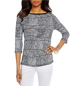 Westbound Petites 3/4 Sleeve Boat Neck Top