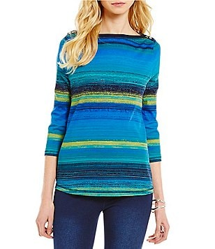 Westbound Petites Boat Neck 3/4 Sleeve Striped Top