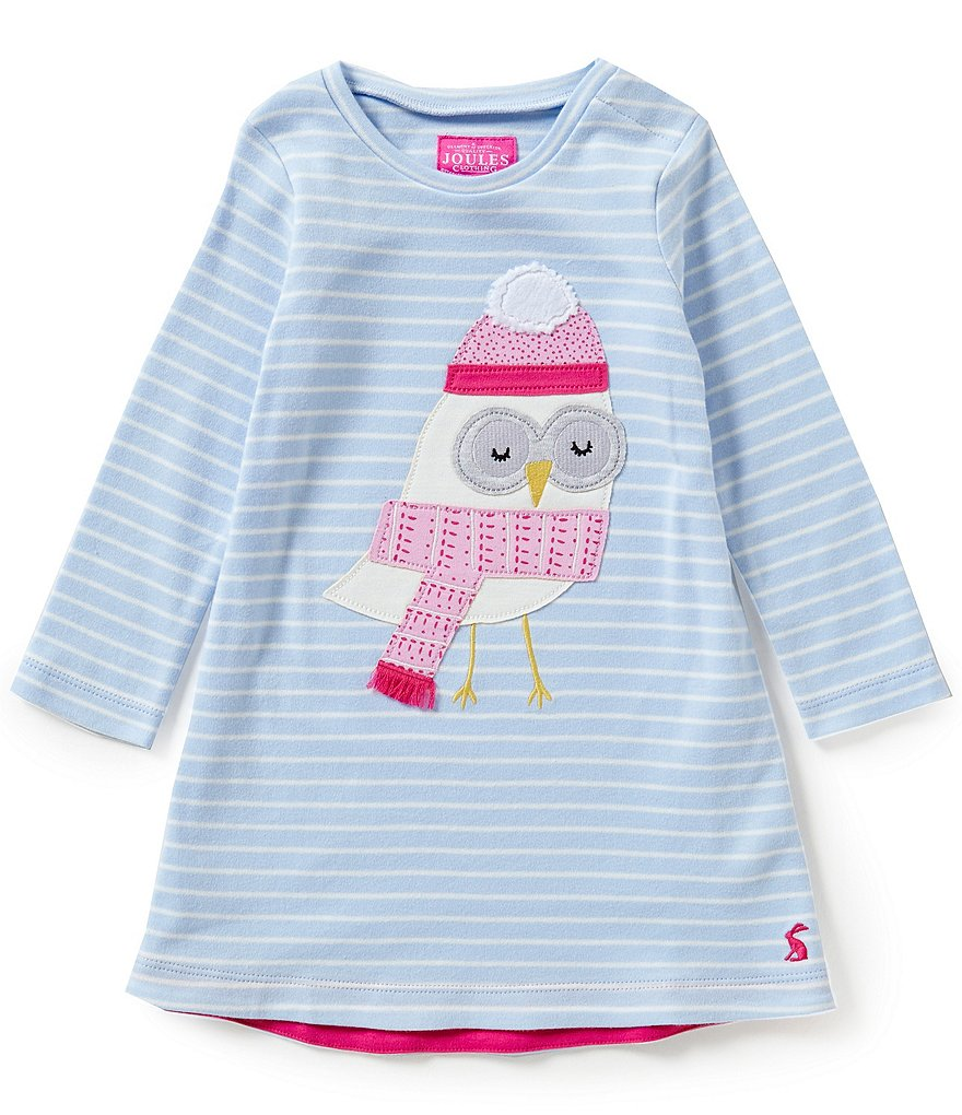 Joules Kaye Baby Girls 12 Months-3T Fur Ball Owl-Appliquéd Striped A-Line Dress