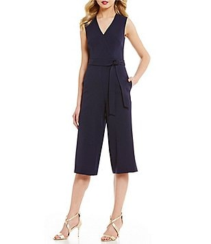 Donna Ricco V-Neck Sleeveless Cropped Solid Crepe Jumpsuit