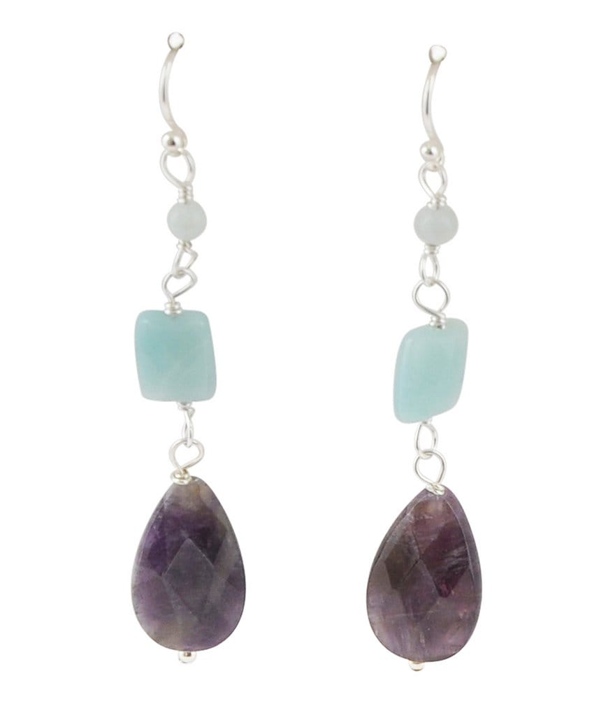 Calvary Sterling Silver, Amazonite & Amethyst Stone Linear Earrings