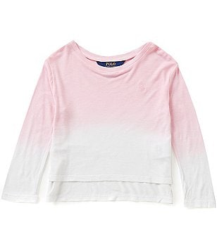 Ralph Lauren Childrenswear Little Girls 2T-6X Dip-Dyed Ombré Long-Sleeve Tee