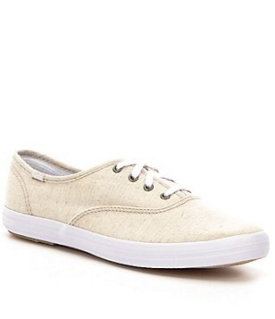 Keds Champion Linen Lace-Up Flat Sneakers