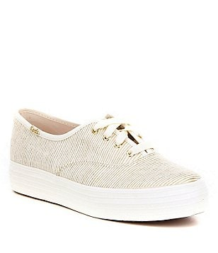 Keds Triple Decker Metallic Canvas Lace Up Flat Casual Sneakers