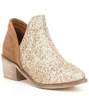 Coolway Amber Glitter & Leather V-Throat Stack Block Heel Booties