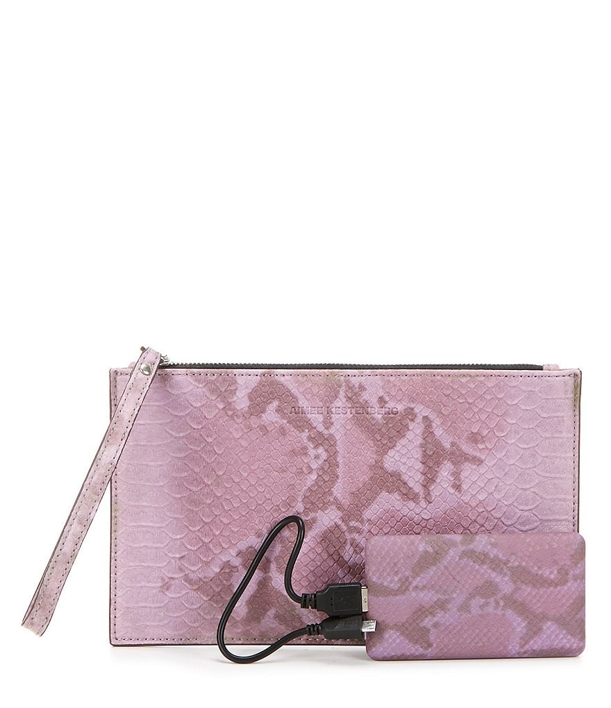 Aimee Kestenberg Python-Embossed Pouch with Charger
