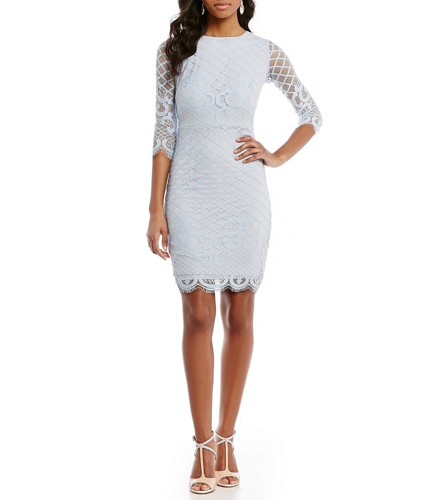 Sangria Illusion 3/4 Sleeve Lace Sheath Dress | Dillards